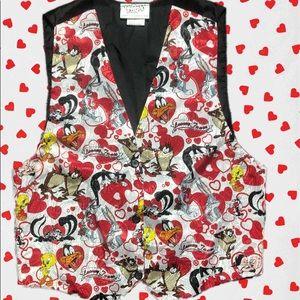 Vintage 90s looney tune valentines vest unisex